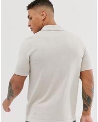 ASOS Gray Knitted Revere Polo Shirt In Light Grey for men