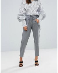 Y.A.S - Gray Monday Ankle Drawstring Pants - Lyst