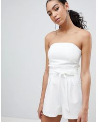 e6e0dbce51b Missguided Bandeau Paperbag Tie Waist Playsuit in White - Lyst