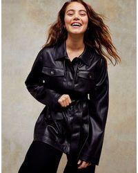 Черная Куртка Из Искусственной Кожи С Поясом И Карманами -черный Цвет TOPSHOP, цвет: Black