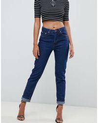 Boohoo Blue Turn Up Hem Mom Jeans