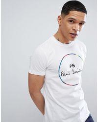 PS by Paul Smith Schmales T-Shirt in Wei mit rundem PS-Logo in White für Herren