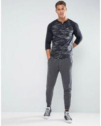 Hollister 3/4 Sleeve Henley Baseball Slim Fit In Black Camo for men