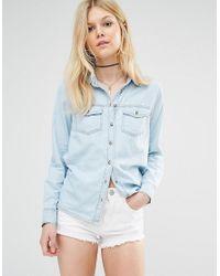 New Look Blue Bleach Wash Denim Shirt