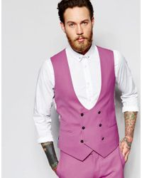 Noose And Monkey Pink Double Breasted Waistcoat With Stretch In Super Skinny Fit for men