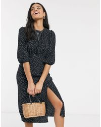 Vestito midi con spacco nero a pois di Miss Selfridge in Black