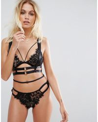 ASOS | Black Strappy Harness With Rose Gold Buckles | Lyst
