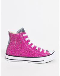 Высокие Розовые Кроссовки С Блестками Chuck Taylor-розовый Converse, цвет: Pink