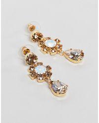 Krystal London - Metallic Swarovski Crystal Floral Peardrop Earrings - Lyst