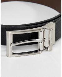 Paul Costelloe Black Reversible Belt In Saffiano for men