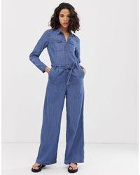 ONLY Blue – Weitgeschnittener Jeans-Jumpsuit mit Knopfleiste