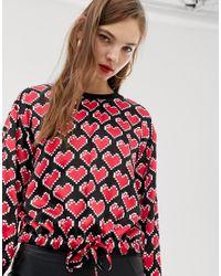 Топ С Принтом Сердец Love Moschino, цвет: Red