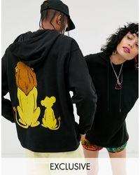 Sudadera con capucha extragrande unisex con estampado ASOS de color Black