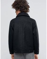 Weekday Black Son Wool Bomber Jacket Borg Collar for men