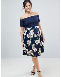 AX Paris Blue Scuba 2-in-1 Floral Skirt Dress