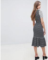 ASOS Multicolor Midi Dress With Pep Hem In Mono Stripes