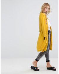 Bershka Yellow Embroidered Kimono Jacket