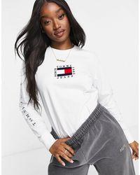 Maglietta a maniche lunghe con logo, colore bianco di Tommy Hilfiger in White