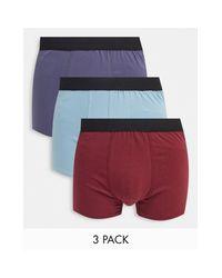 Набор Из 3 Пар Боксеров С Бордового И Голубого Цветов -многоцветный New Look для него, цвет: Red