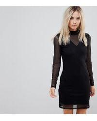 Vero Moda Black Long Sleeve Mesh Mini Dress