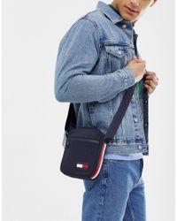 Tommy Hilfiger Blue Nylon Icon Flag Logo Mini Crossbody Bag In Navy for men