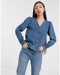 Femme - Camicia di jeans con maniche voluminose di SELECTED in Blue