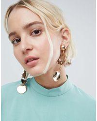 ASOS Metallic Resin Jewel And Shape Drop Earrings