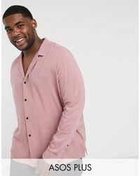 Plus - Camicia rosa comoda di ASOS in Pink da Uomo