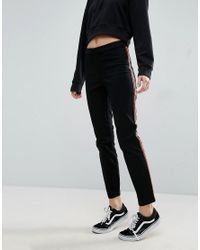 ASOS - Black Cigarette Trousers With Side Stripe - Lyst