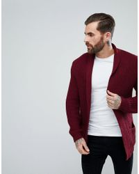 565319aa15f ASOS Knitted Cardigan In Burgundy in Red for Men - Lyst
