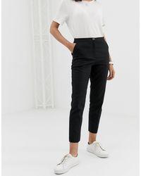 Pantalon cigarette en lin épuré ASOS en coloris Black
