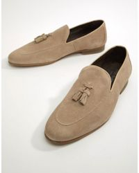 River Island Natural Suede Loafer With Tassel In Sand for men