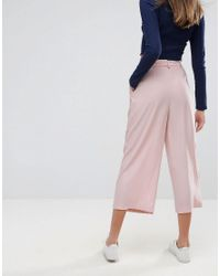 ASOS Pink Asos Tailored Culotte With Tie Waist In Crepe