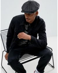 ASOS - Black Baker Boy Hat In Textured Stripe Melton for Men - Lyst
