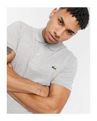 Серая Облегающая Футболка-поло -серый Lacoste для него, цвет: Gray