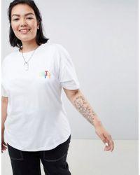 Camiseta con estampado en la parte posterior de ASOS DESIGN x GLAAD Curve ASOS de color White