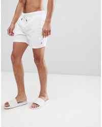c4fd36ea9cd7ec Tommy Hilfiger Short Drawstring Flag Logo Swim Shorts In White in ...