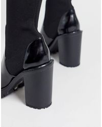Черные Трикотажные Ботфорты На Массивной Подошве ASOS, цвет: Black