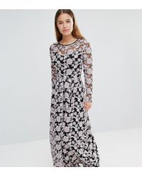 True Decadence Multicolor All Over Embroidered Contrast Lace Maxi Dress