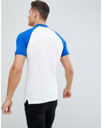 Only & Sons White Muscle Fit Raglan Polo for men
