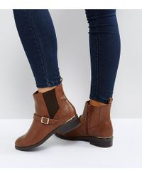 New Look Brown Leather Look Buckle Chelsea Boots