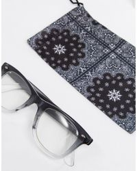 ASOS Gray Square Glasses In Crystal Grey Fade With Clear Lens for men