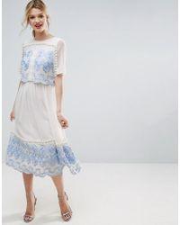ASOS White Premium Double Layer Midi Embroidered Dress