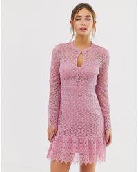 Розовое Кружевное Платье Мини -темно-синий Forever New, цвет: Pink