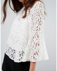 Mango White Lace Top With Voluminous Sleeves