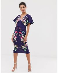 Vestido ajustado con manga tipo kimono exclusivo True Violet de color Blue