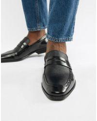 Dune – Loafer mit Zehenkappe aus schwarzem Leder in Black für Herren
