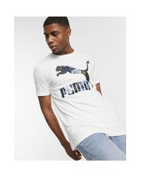 Camiseta blanca con logo Trend AOP PUMA de hombre de color White