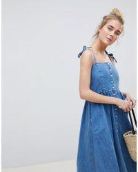 ASOS Denim Button Through Midi Dress In Midwash Blue