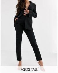 ASOS DESIGN Tall - Pantaloni da abito pop slim neri di ASOS in Black